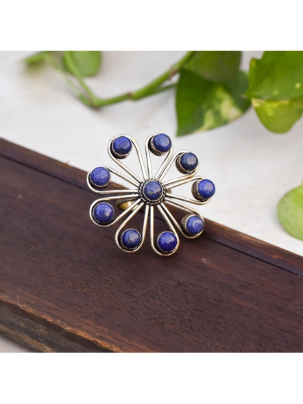 Semi Precious Lapis Lazuli Stone studded Floral Adjustable Finger ring-2