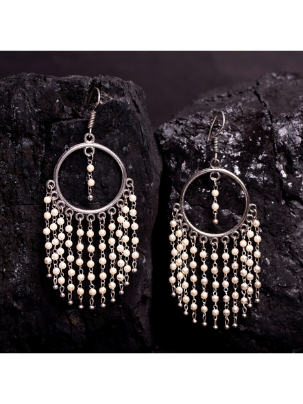 Designer Light Weight German Silver  Pearl Chain Earring-LAAER370