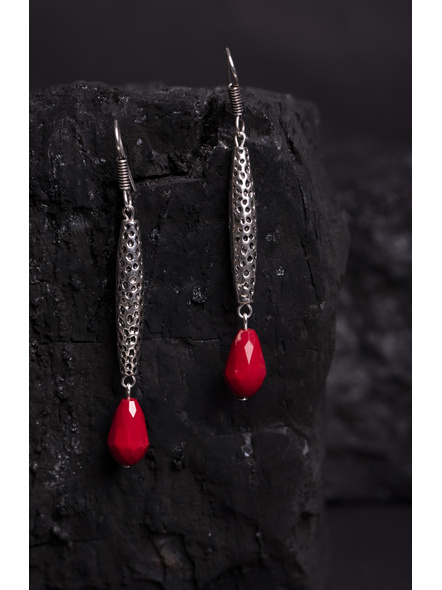 Designer German Silver Long Charm Earring with Red Crystal Drop-1