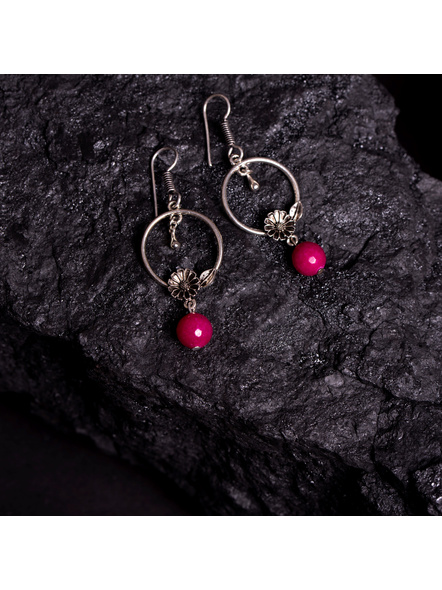 Designer German Silver Floral Charm Earring with Pink Semi Precious Agate Drop-LAAER372