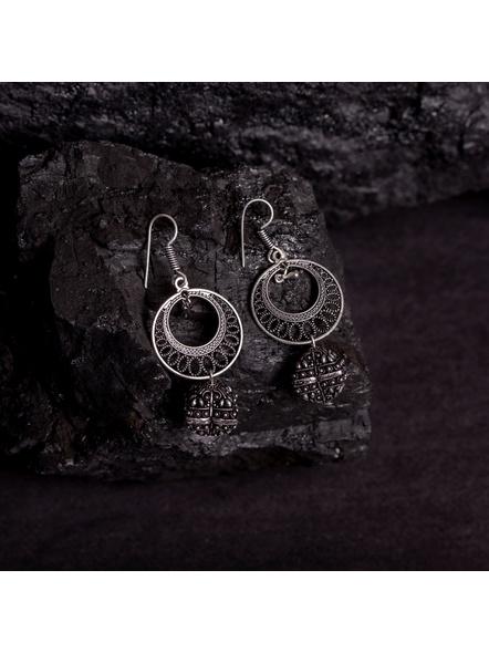 Designer German Silver Round Frame Earring with German Silver Bead-LAAER373