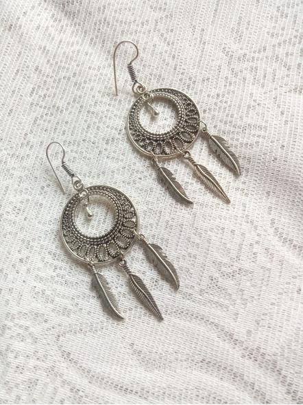Designer German Silver Round Dreamcatcher Earring-1