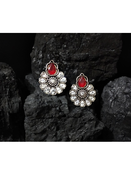 Designer German Silver Floral Stud with Red and White Zircon Stone-LAAER379
