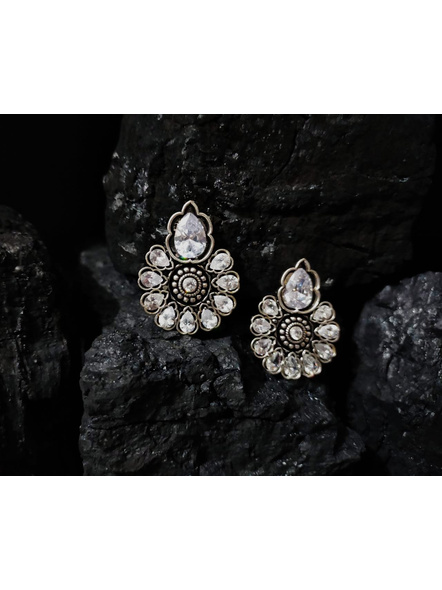 Designer German Silver Floral Stud with White Zircon Stone-LAAER380