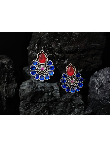 Designer German Silver Floral Stud with Red and Blue Zircon Stone-LAAER381