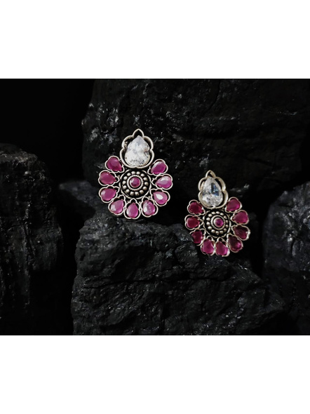 Designer German Silver Floral Stud with White and Ruby Pink Zircon Stone-1