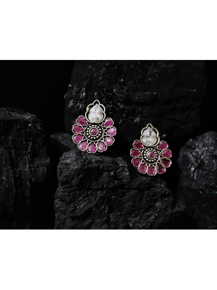 Designer German Silver Floral Stud with White and Ruby Pink Zircon Stone-LAAER382