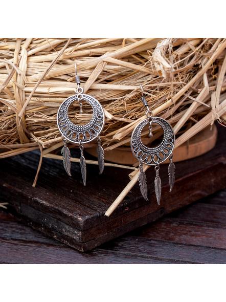 Designer German Silver Round Dreamcatcher Earring-LAAER374