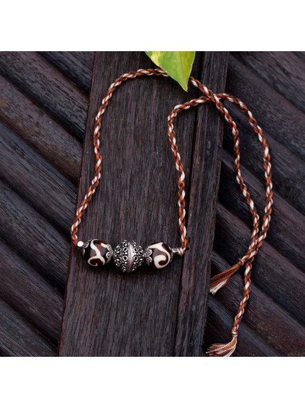 Designer German Silver Focal Bead Brown Acrylic Bead Choker with Adjustable Multicolored Twisted Thread Dori-LAACNL004