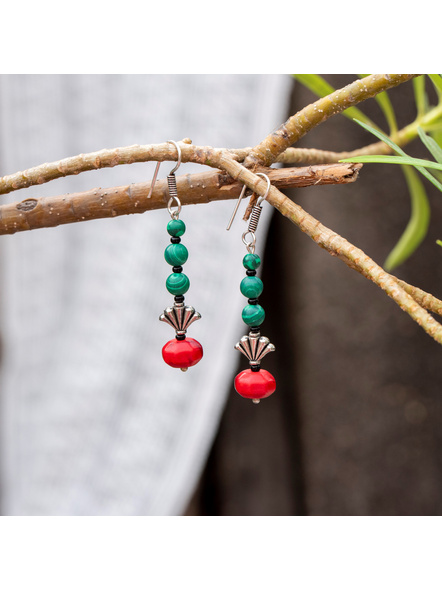Semi Precious Green Malachite Red Howlite Turquoise and German Silver bead Earring-LAAER384