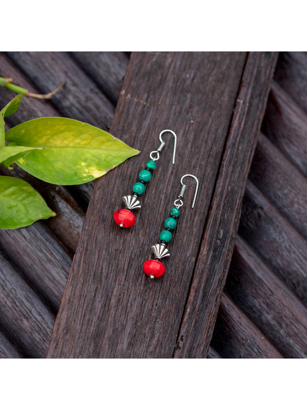 Semi Precious Green Malachite Red Howlite Turquoise and German Silver bead Earring-Turquoise-Turquoise-Adult-Female-7cm-1