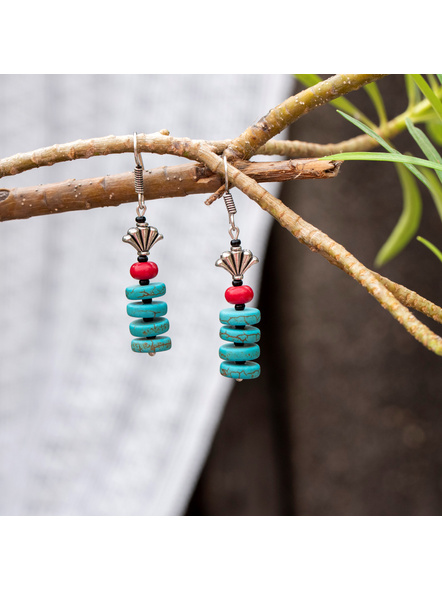Semi Precious Disc Turquoise Red Howlite Turquoise and German Silver bead Earring-Turquoise-Turquoise-Adult-Female-6.5cm-1
