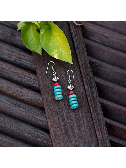 Semi Precious Disc Turquoise Red Howlite Turquoise and German Silver bead Earring-LAAER385