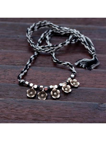 Designer German Silver Floral Charm Choker with Adjustable Black Grey Twisted Thread Dori-LAACNL005