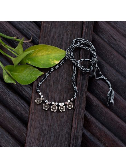 Designer German Silver Floral Charm Choker with Adjustable Black Grey Twisted Thread Dori-1