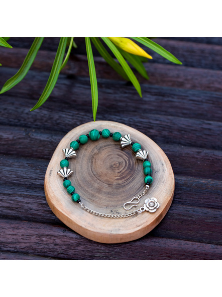 Designer Semi Precious Green Malachite bead bracelet with German Silver Charm Adjustable Chain and Floral Charm-LAAHB012
