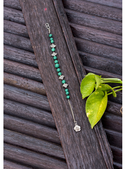 Designer Semi Precious Green Malachite bead bracelet with German Silver Charm Adjustable Chain and Floral Charm-1
