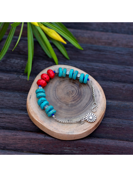 Designer Semi Precious Turquoise Disc bead bracelet with Red Howlite Turquoise German Silver Bead Adjustable Chain and Floral Charm-1