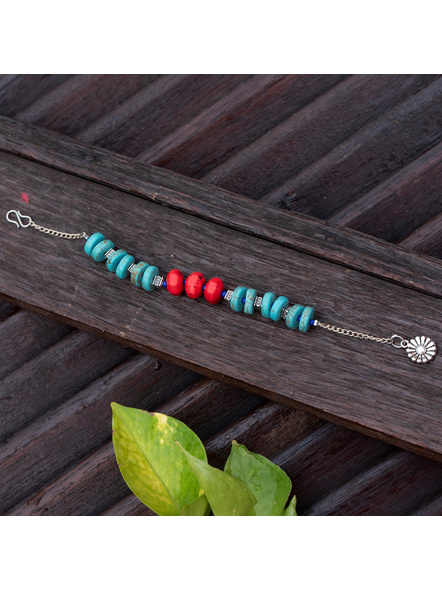 Designer Semi Precious Turquoise Disc bead bracelet with Red Howlite Turquoise German Silver Bead Adjustable Chain and Floral Charm-LAAHB013