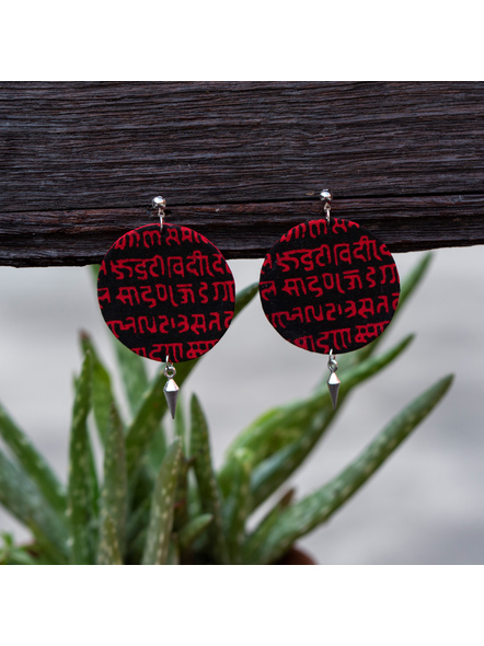 Designer Handcrafted Red Black Scripted Circular Earring with Small Round Stud German Silver Drop-LAAER386