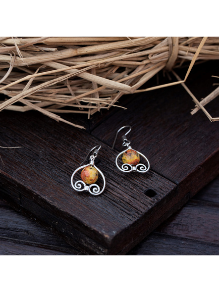 German Silver Designer Heart Frame Earring with Agate Bead-Silver-German Silver-Adult-Female-4.3cm-1