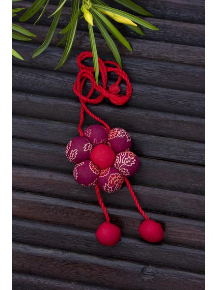 Handcrafted Designer Fabric Floral Neckpiece with Adjustable Dori-LAACNL006