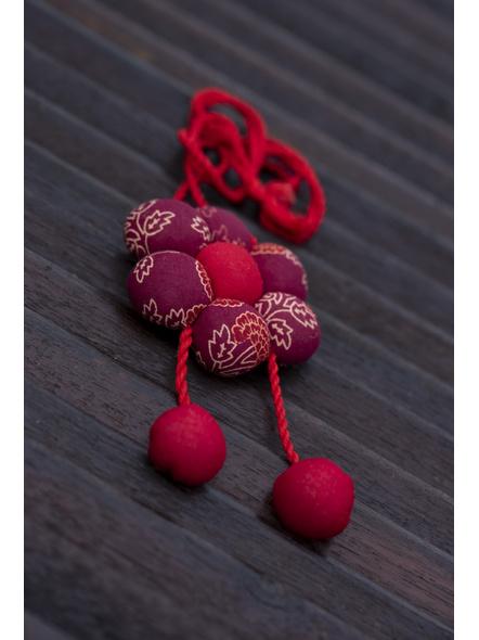 Handcrafted Designer Fabric Floral Neckpiece with Adjustable Dori-1