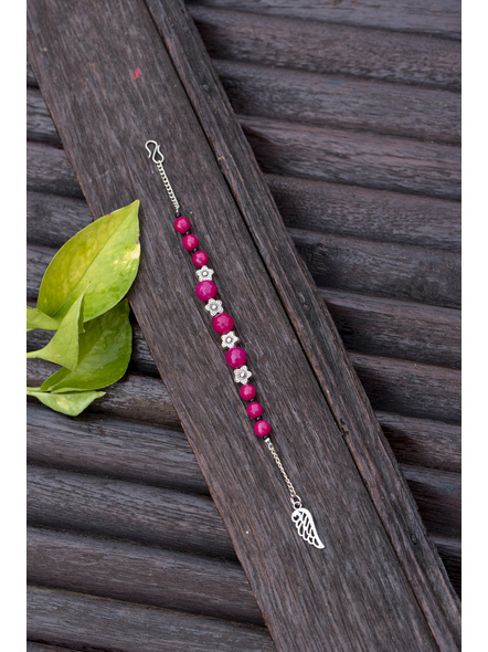 Designer Semi Precious Pink Agate Bracelet with Floral Bead Adjustable Chain and Feather Charm-1