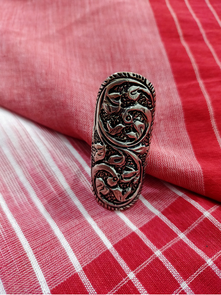 German Silver Rectangular Finger Ring-LAAR010