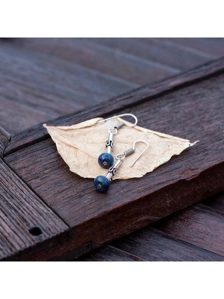 Designer German Silver Pipe Spacer Earring with Semi precious Lapis Lazuli Stone-Silver-German Silver-Adult-Female-6cm-1