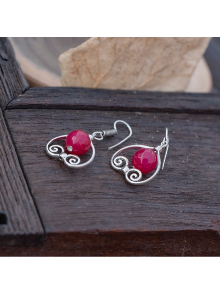 German Silver Designer Pink Heart Frame Earring with Agate Bead-Silver-German Silver-Adult-Female-4.3cm-2