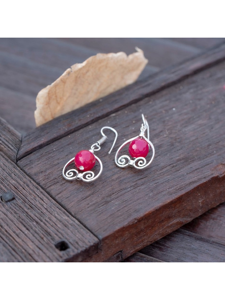 German Silver Designer Pink Heart Frame Earring with Agate Bead-LAAER390
