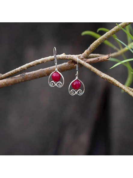 German Silver Designer Pink Heart Frame Earring with Agate Bead-Silver-German Silver-Adult-Female-4.3cm-1