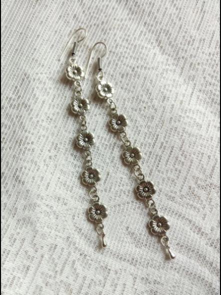Lightweight cute German Silver Long Floral Dangler-Silver-German Silver-Adult-Female-14cm-2