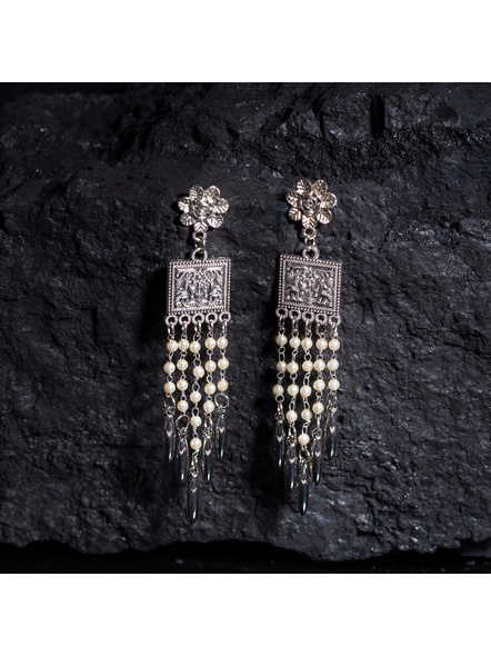 Designer Floral Stud German Silver Five line Pearl Chain Dangler-LAAER366