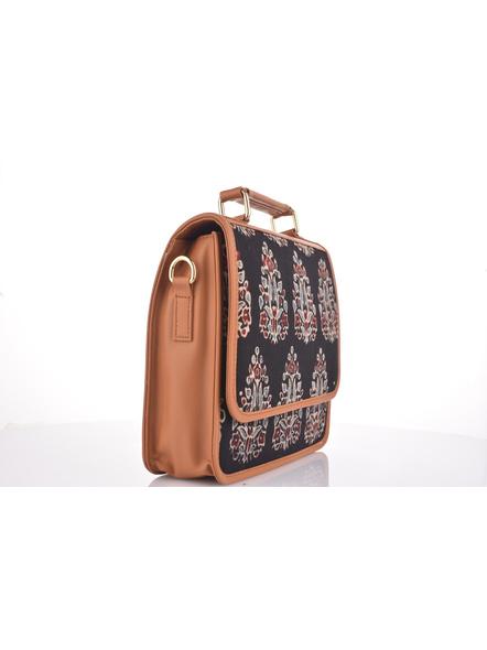 Bagru Hand Block Print Black Flap Bag with Adjustable Removable Sling-3