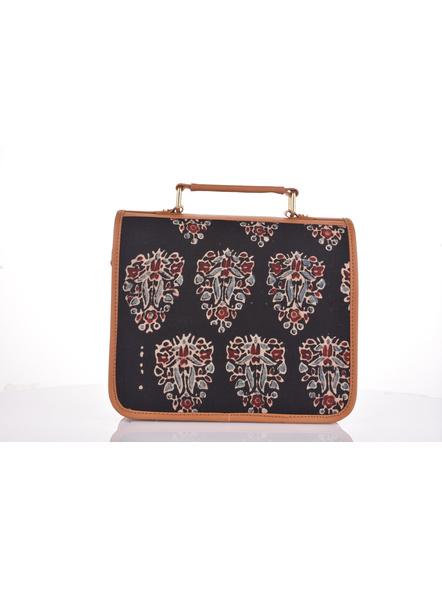Bagru Hand Block Print Black Flap Bag with Adjustable Removable Sling-4