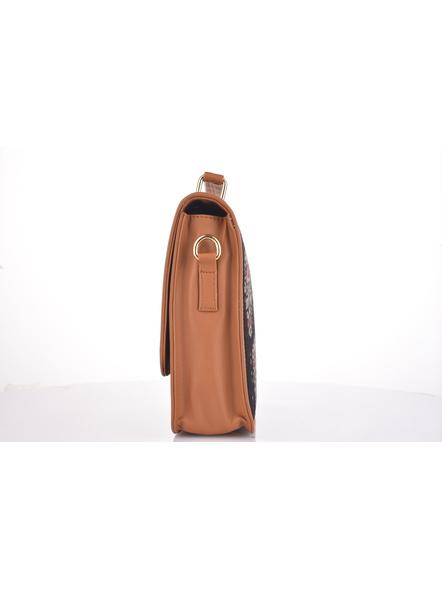 Bagru Hand Block Print Black Flap Bag with Adjustable Removable Sling-2