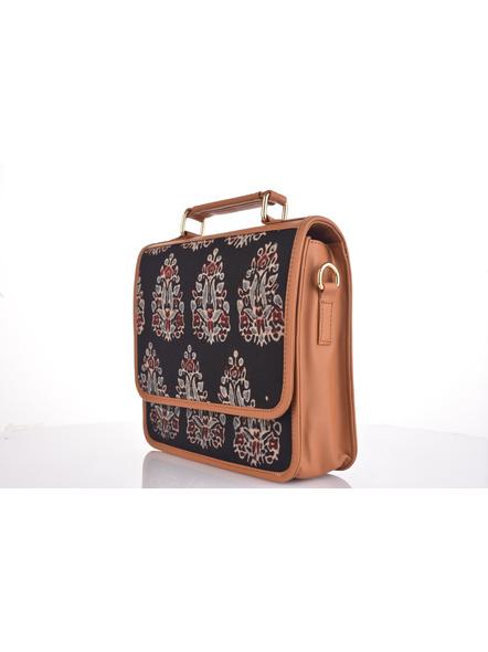 Bagru Hand Block Print Black Flap Bag with Adjustable Removable Sling-1