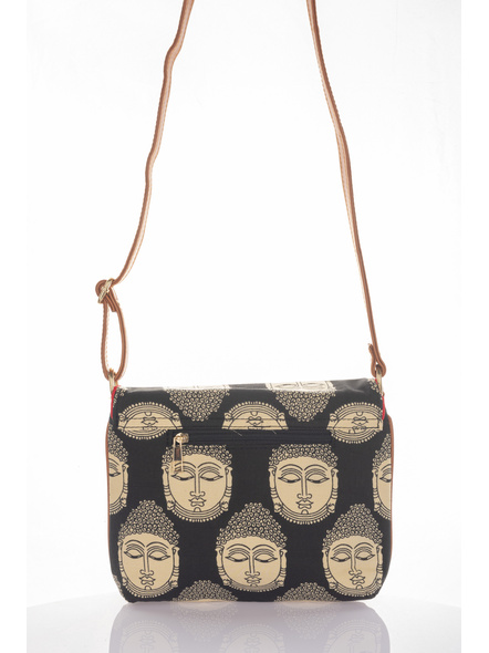 Handcrafted Black Kalamkari Buddha Print Fabric Sling Bag with Designer Leather Tassel-3