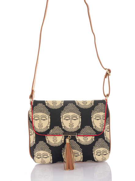 Handcrafted Black Kalamkari Buddha Print Fabric Sling Bag with Designer Leather Tassel-2
