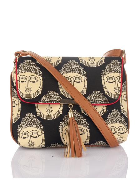 Handcrafted Black Kalamkari Buddha Print Fabric Sling Bag with Designer Leather Tassel-LAAHSB008