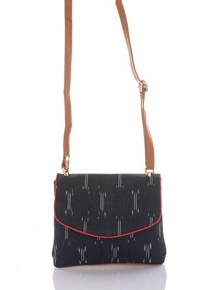 Handcrafted Black Ikkat Fabric Sling Bag-2