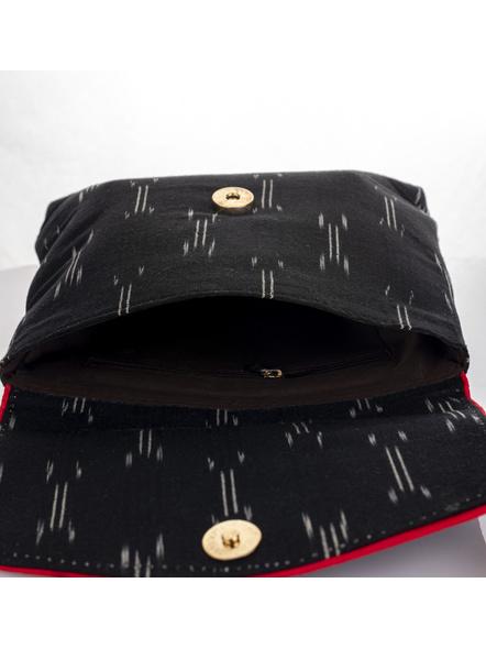Handcrafted Black Ikkat Fabric Sling Bag-4