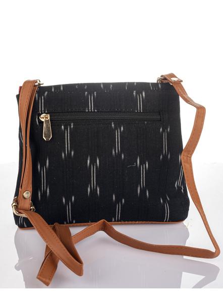 Handcrafted Black Ikkat Fabric Sling Bag-3