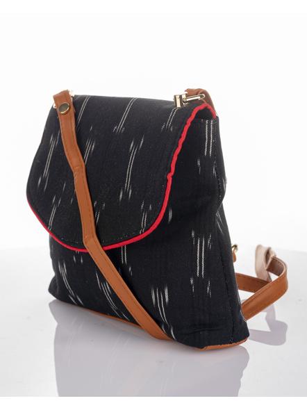 Handcrafted Black Ikkat Fabric Sling Bag-1