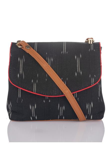 Handcrafted Black Ikkat Fabric Sling Bag-LAAHSB010