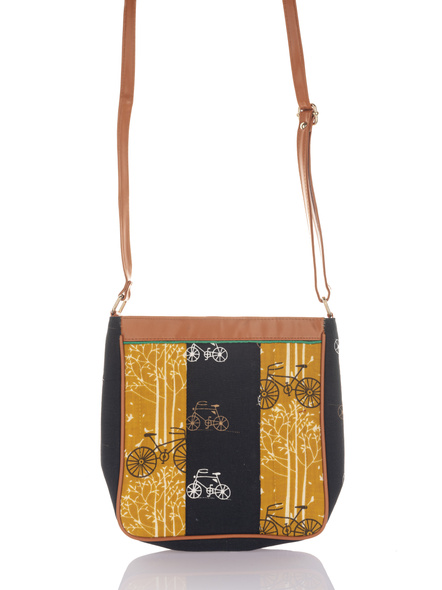 Handcrafted Black Yellow Cycle Print Sling Bag-3