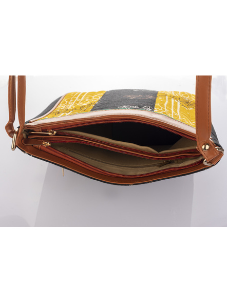 Handcrafted Black Yellow Cycle Print Sling Bag-5