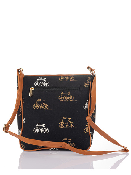 Handcrafted Black Yellow Cycle Print Sling Bag-1